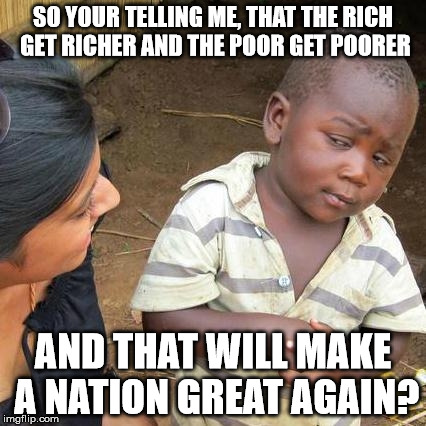 Third World Skeptical Kid Meme | SO YOUR TELLING ME, THAT THE RICH GET RICHER AND THE POOR GET POORER AND THAT WILL MAKE A NATION GREAT AGAIN? | image tagged in memes,third world skeptical kid | made w/ Imgflip meme maker