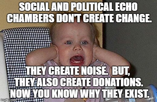 SOCIAL AND POLITICAL ECHO CHAMBERS DON'T CREATE CHANGE. THEY CREATE NOISE.  BUT, THEY ALSO CREATE DONATIONS.  NOW YOU KNOW WHY THEY EXIST. | image tagged in too much noise | made w/ Imgflip meme maker