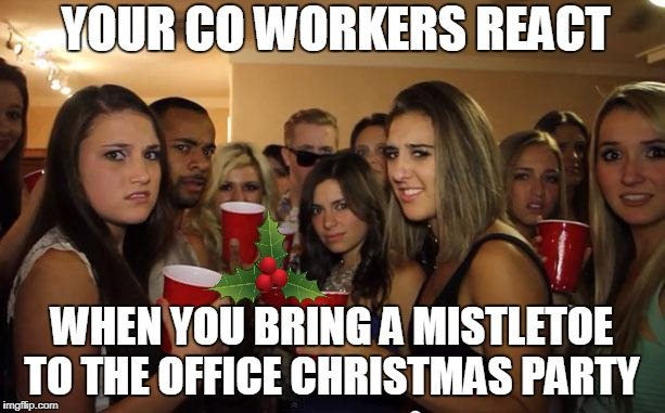 The Awkward Christmas Party | YOUR CO WORKERS REACT WHEN YOU BRING A MISTLETOE TO THE OFFICE CHRISTMAS PARTY | image tagged in awkward party,mistletoe,christmas,party,warning,sexual assault | made w/ Imgflip meme maker