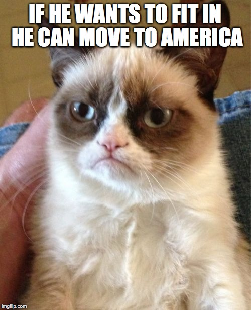 Grumpy Cat Meme | IF HE WANTS TO FIT IN HE CAN MOVE TO AMERICA | image tagged in memes,grumpy cat | made w/ Imgflip meme maker