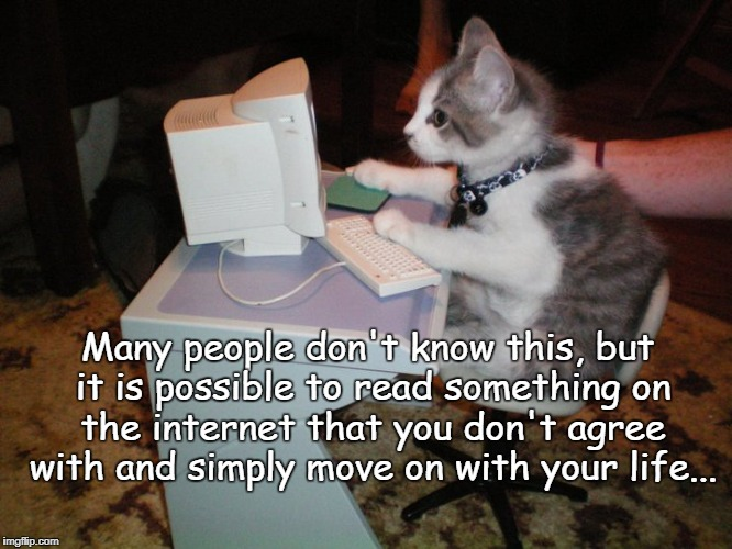 Funny thing... | Many people don't know this, but it is possible to read something on the internet that you don't agree with and simply move on with your lif | image tagged in don't know,agree,internet,butthurt | made w/ Imgflip meme maker