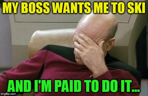 Captain Picard Facepalm Meme | MY BOSS WANTS ME TO SKI AND I'M PAID TO DO IT... | image tagged in memes,captain picard facepalm | made w/ Imgflip meme maker