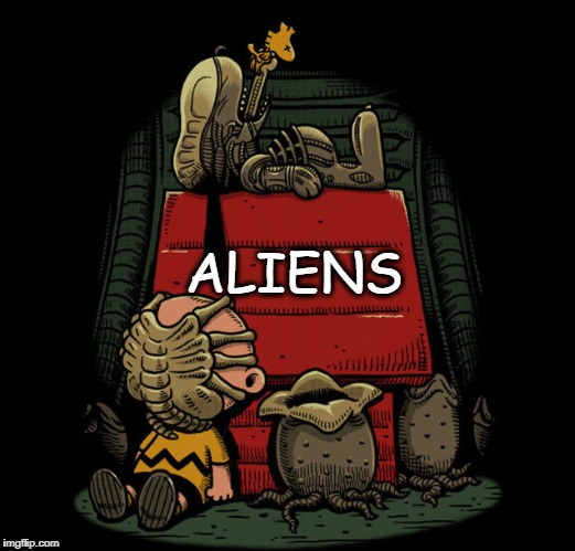 ALIENS | image tagged in aliens,peanuts | made w/ Imgflip meme maker