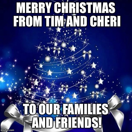 Merry Christmas  | MERRY CHRISTMAS FROM TIM AND CHERI TO OUR FAMILIES AND FRIENDS! | image tagged in merry christmas | made w/ Imgflip meme maker
