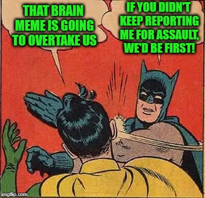 Batman Slapping Robin Meme | THAT BRAIN MEME IS GOING TO OVERTAKE US IF YOU DIDN'T KEEP REPORTING ME FOR ASSAULT, WE'D BE FIRST! | image tagged in memes,batman slapping robin | made w/ Imgflip meme maker