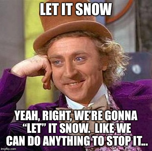 "Stupid Christmas songs | LET IT SNOW YEAH, RIGHT, WE'RE GONNA ""LET"" IT SNOW.  LIKE WE CAN DO ANYTHING TO STOP IT... 