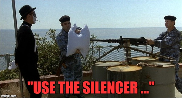"Mime execution |  ""USE THE SILENCER ..."" 