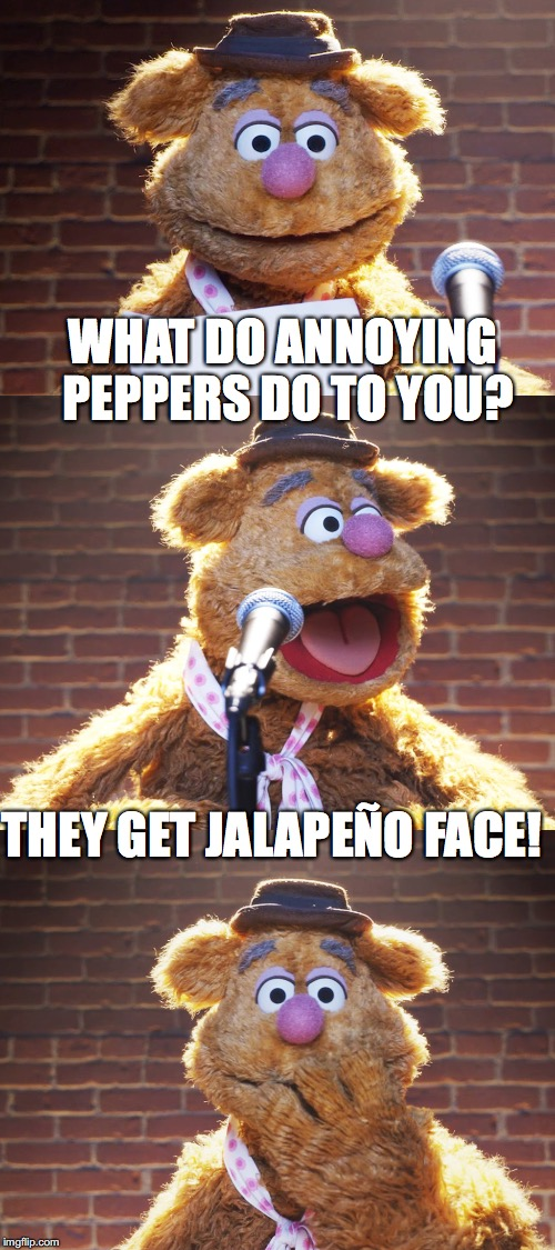 Fozzie Jokes | WHAT DO ANNOYING PEPPERS DO TO YOU? THEY GET JALAPEÑO FACE! | image tagged in fozzie jokes,memes,inferno390,funny | made w/ Imgflip meme maker