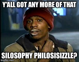 Y'all Got Any More Of That Meme | Y'ALL GOT ANY MORE OF THAT SILOSOPHY PHILOSISIZZLE? | image tagged in memes,yall got any more of | made w/ Imgflip meme maker
