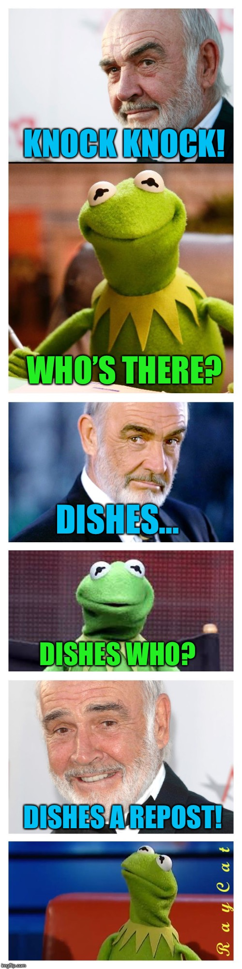 Sean and Kermit |  KNOCK KNOCK! WHO'S THERE? DISHES... DISHES WHO? DISHES A REPOST! | image tagged in sean and kermit,memes,sean connery vs kermit,sean connery  kermit,kermit the frog,sean connery | made w/ Imgflip meme maker