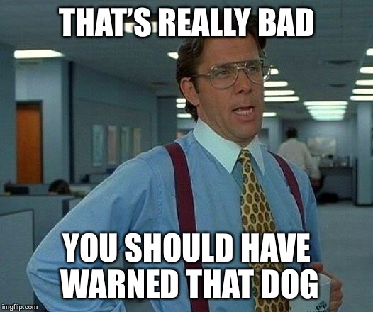 That Would Be Great Meme | THAT'S REALLY BAD YOU SHOULD HAVE WARNED THAT DOG | image tagged in memes,that would be great | made w/ Imgflip meme maker