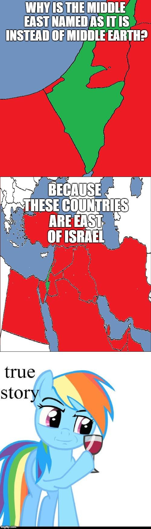 When you Realize not only Israel is the best, but why the Other Countries are so Bansh*t Crazy | WHY IS THE MIDDLE EAST NAMED AS IT IS INSTEAD OF MIDDLE EARTH? BECAUSE THESE COUNTRIES ARE EAST OF ISRAEL | image tagged in israel,rainbowdash | made w/ Imgflip meme maker