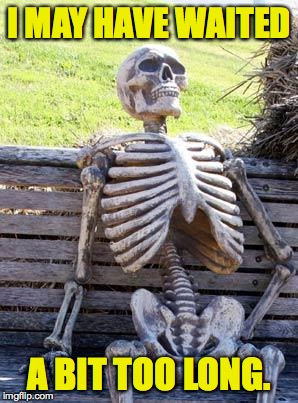 Waiting Skeleton Meme | I MAY HAVE WAITED A BIT TOO LONG. | image tagged in memes,waiting skeleton | made w/ Imgflip meme maker