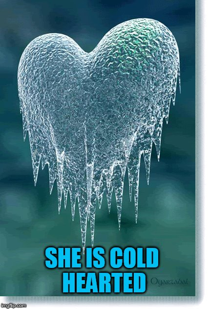 SHE IS COLD HEARTED | made w/ Imgflip meme maker