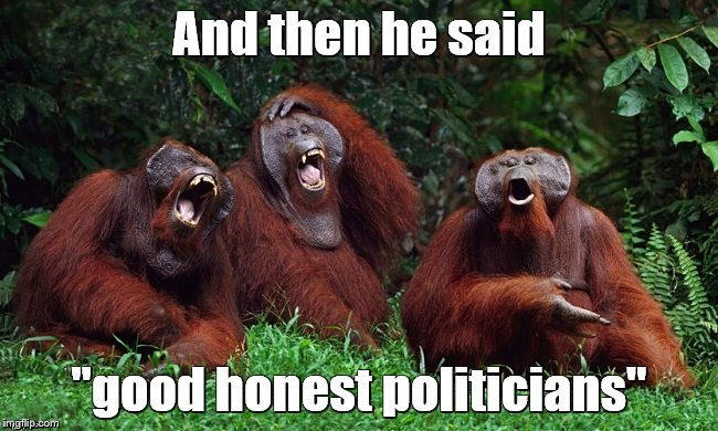 "laughing orangutans | And then he said ""good honest politicians"" 