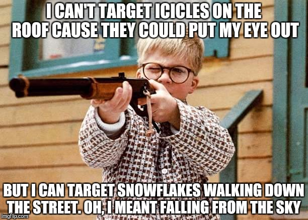 Putting my Red Rider lever action single shot BB Gun to good use | I CAN'T TARGET ICICLES ON THE ROOF CAUSE THEY COULD PUT MY EYE OUT BUT I CAN TARGET SNOWFLAKES WALKING DOWN THE STREET. OH, I MEANT FALLING  | image tagged in a christmas story | made w/ Imgflip meme maker