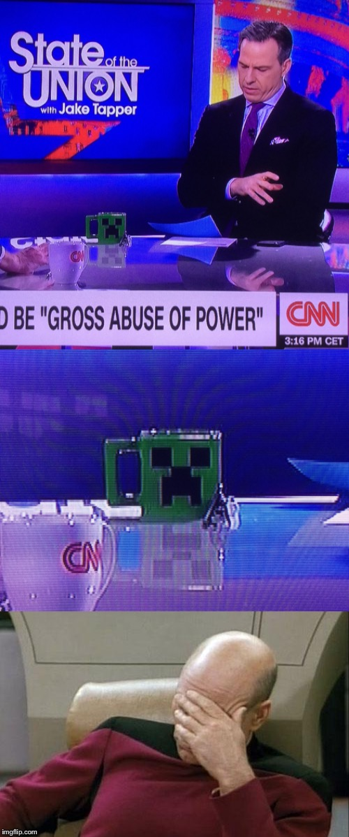 CNN Minecraft Creeper Mug | image tagged in cnn,minecraft | made w/ Imgflip meme maker