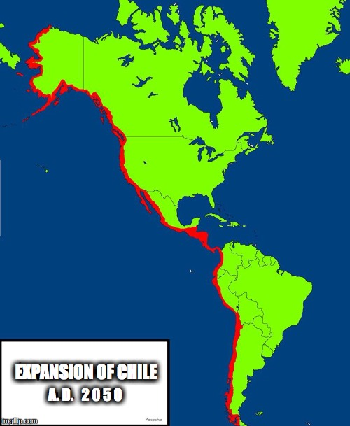 in the not so distant future, Chile wins ww3 | A. D.   2 0 5 0 EXPANSION OF CHILE | image tagged in maps,world domination,memes | made w/ Imgflip meme maker