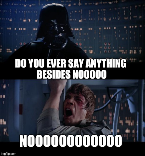 Star Wars No Meme | DO YOU EVER SAY ANYTHING BESIDES NOOOOO NOOOOOOOOOOOO | image tagged in memes,star wars no | made w/ Imgflip meme maker