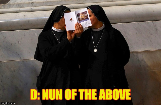 D: NUN OF THE ABOVE | made w/ Imgflip meme maker