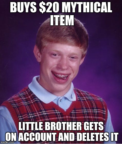 stupid unturned market place | BUYS $20 MYTHICAL ITEM LITTLE BROTHER GETS ON ACCOUNT AND DELETES IT | image tagged in memes,bad luck brian,unturned | made w/ Imgflip meme maker