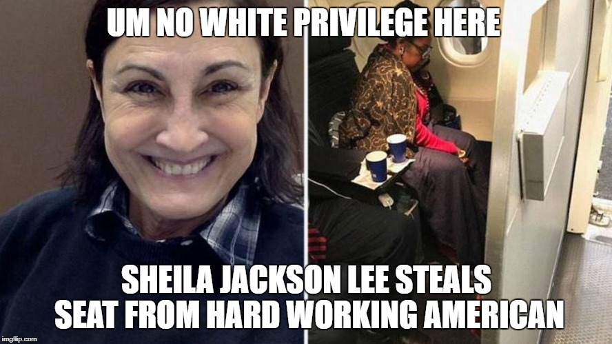 Sheila Jackson Lee flies UNITED with special privileges to take seats from hard working Americans | UM NO WHITE PRIVILEGE HERE SHEILA JACKSON LEE STEALS SEAT FROM HARD WORKING AMERICAN | image tagged in democratic socialism,democracy,democrats gone wild | made w/ Imgflip meme maker