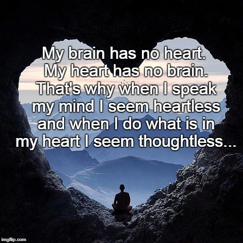 My brain has no... | My brain has no heart. My heart has no brain. That's why when I speak my mind I seem heartless and when I do what is in my heart I seem thou | image tagged in heart,no,brain,heartless,thoughtless | made w/ Imgflip meme maker