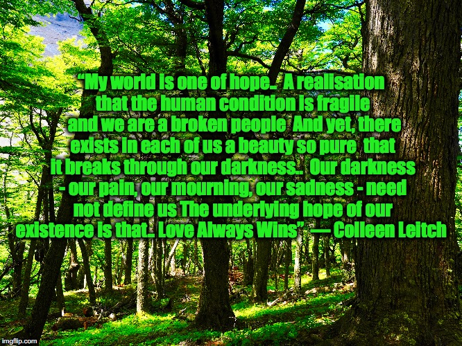 """My world is one of hope.. A realisation that the human condition is fragile and we are a broken people And yet, there exists in each of  