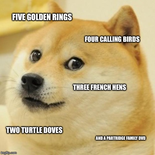 On the fifth day of Christmas my true love gave to me | FIVE GOLDEN RINGS FOUR CALLING BIRDS THREE FRENCH HENS TWO TURTLE DOVES AND A PARTRIDGE FAMILY DVD | image tagged in memes,doge | made w/ Imgflip meme maker