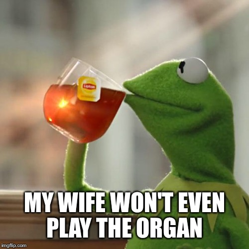 But Thats None Of My Business Meme | MY WIFE WON'T EVEN PLAY THE ORGAN | image tagged in memes,but thats none of my business,kermit the frog | made w/ Imgflip meme maker