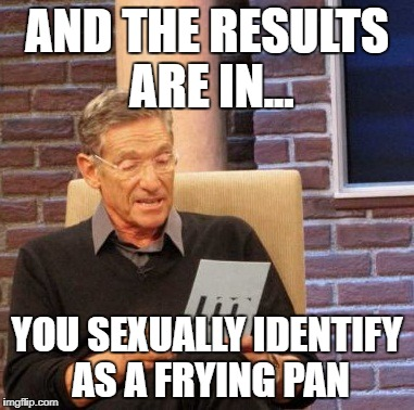 Maury Lie Detector Meme | AND THE RESULTS ARE IN... YOU SEXUALLY IDENTIFY AS A FRYING PAN | image tagged in memes,maury lie detector | made w/ Imgflip meme maker