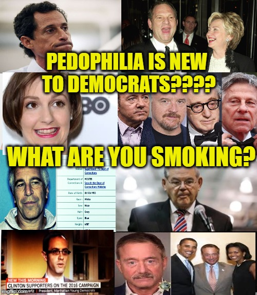 PEDOPHILIA IS NEW TO DEMOCRATS???? WHAT ARE YOU SMOKING? | made w/ Imgflip meme maker