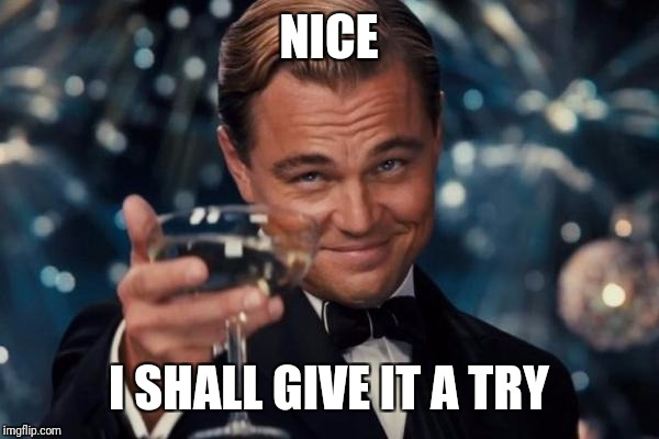 Leonardo Dicaprio Cheers Meme | NICE I SHALL GIVE IT A TRY | image tagged in memes,leonardo dicaprio cheers | made w/ Imgflip meme maker
