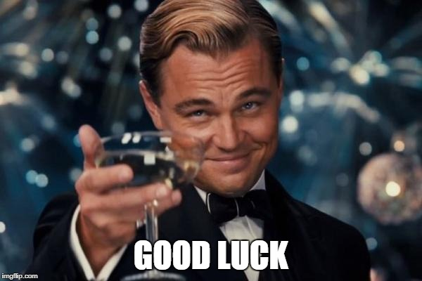Leonardo Dicaprio Cheers Meme | GOOD LUCK | image tagged in memes,leonardo dicaprio cheers | made w/ Imgflip meme maker