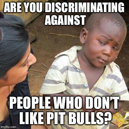 Third World Skeptical Kid Meme | ARE YOU DISCRIMINATING AGAINST PEOPLE WHO DON'T LIKE PIT BULLS? | image tagged in memes,third world skeptical kid | made w/ Imgflip meme maker