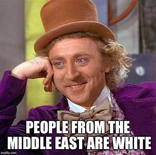 Creepy Condescending Wonka Meme | PEOPLE FROM THE MIDDLE EAST ARE WHITE | image tagged in memes,creepy condescending wonka | made w/ Imgflip meme maker