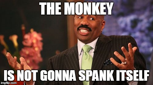 Steve Harvey Meme | THE MONKEY IS NOT GONNA SPANK ITSELF | image tagged in memes,steve harvey | made w/ Imgflip meme maker