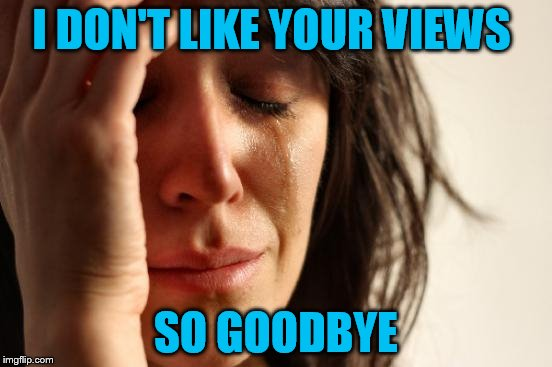First World Problems Meme | I DON'T LIKE YOUR VIEWS SO GOODBYE | image tagged in memes,first world problems | made w/ Imgflip meme maker