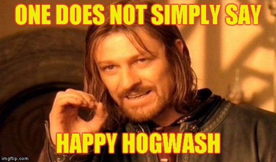 One Does Not Simply Meme | ONE DOES NOT SIMPLY SAY HAPPY HOGWASH | image tagged in memes,one does not simply | made w/ Imgflip meme maker