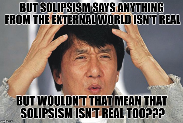 Jackie Chan Confused | BUT SOLIPSISM SAYS ANYTHING FROM THE EXTERNAL WORLD ISN'T REAL BUT WOULDN'T THAT MEAN THAT SOLIPSISM ISN'T REAL TOO??? | image tagged in jackie chan confused | made w/ Imgflip meme maker