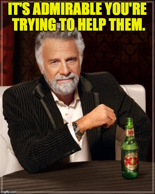 The Most Interesting Man In The World Meme | IT'S ADMIRABLE YOU'RE TRYING TO HELP THEM. | image tagged in memes,the most interesting man in the world | made w/ Imgflip meme maker