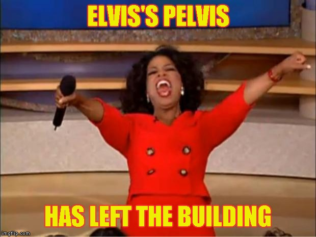 Oprah You Get A Meme | ELVIS'S PELVIS HAS LEFT THE BUILDING | image tagged in memes,oprah you get a | made w/ Imgflip meme maker