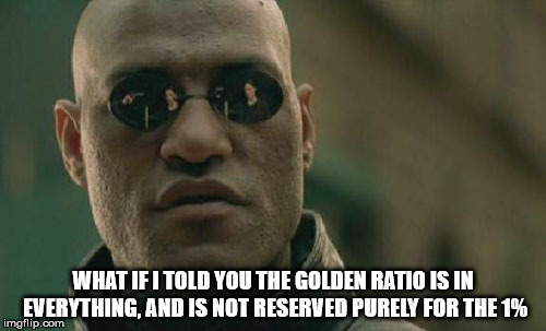 All people are doing is fueling unhealthy narcissism. | WHAT IF I TOLD YOU THE GOLDEN RATIO IS IN EVERYTHING, AND IS NOT RESERVED PURELY FOR THE 1% | image tagged in memes,matrix morpheus,the golden ratio,unhealthy narcissism,human stupidity,divinity | made w/ Imgflip meme maker