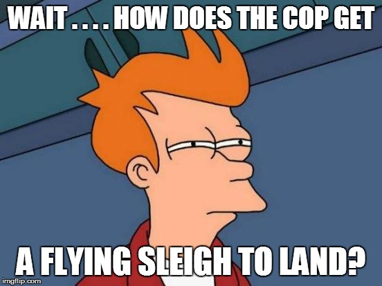 Futurama Fry Meme | WAIT . . . . HOW DOES THE COP GET A FLYING SLEIGH TO LAND? | image tagged in memes,futurama fry | made w/ Imgflip meme maker