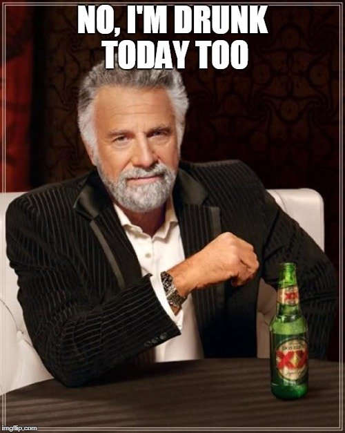 The Most Interesting Man In The World Meme | NO, I'M DRUNK TODAY TOO | image tagged in memes,the most interesting man in the world | made w/ Imgflip meme maker