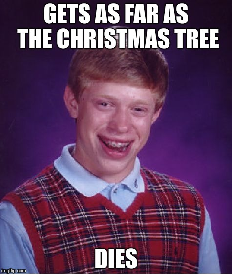 Bad Luck Brian Meme | GETS AS FAR AS THE CHRISTMAS TREE DIES | image tagged in memes,bad luck brian,die,die hard,christmas,merry christmas | made w/ Imgflip meme maker