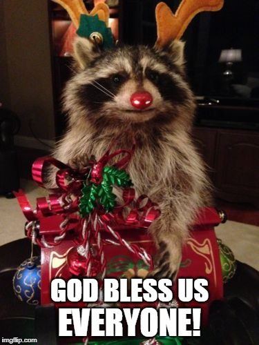 Please be safe! | GOD BLESS US EVERYONE! | image tagged in christmas,god bless us everyone,christmas raccoon | made w/ Imgflip meme maker