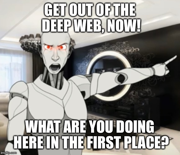 Deep web | GET OUT OF THE DEEP WEB, NOW! WHAT ARE YOU DOING HERE IN THE FIRST PLACE? | image tagged in robot | made w/ Imgflip meme maker