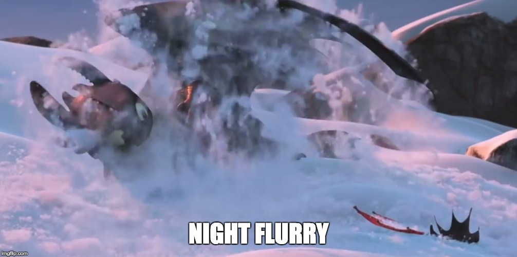 NIGHT FLURRY | image tagged in how to train your dragon,toothless | made w/ Imgflip meme maker