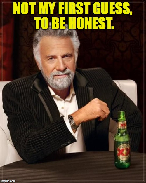 The Most Interesting Man In The World Meme | NOT MY FIRST GUESS, TO BE HONEST. | image tagged in memes,the most interesting man in the world | made w/ Imgflip meme maker